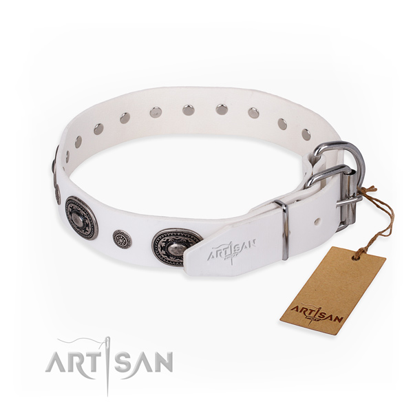 Gentle to touch genuine leather dog collar crafted for daily walking