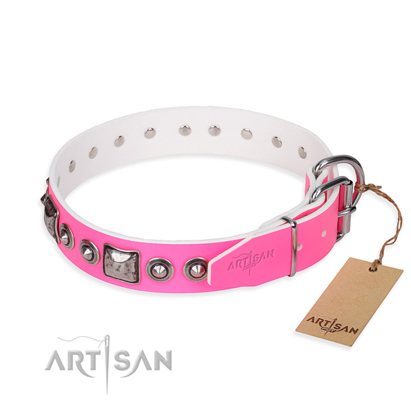 Top notch natural genuine leather dog collar made for comfortable wearing