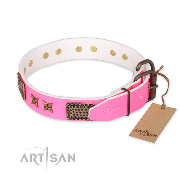 Rust-proof fittings on full grain genuine leather collar for your beautiful four-legged friend