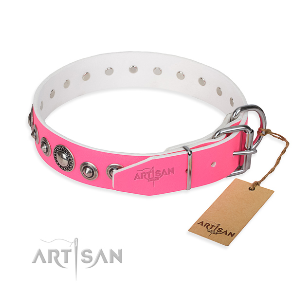 Leather dog collar made of quality material with corrosion resistant decorations