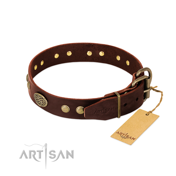 Rust resistant traditional buckle on genuine leather dog collar for your pet