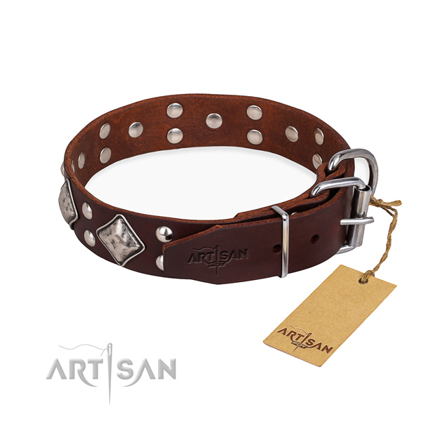 Natural leather dog collar with stylish design durable studs