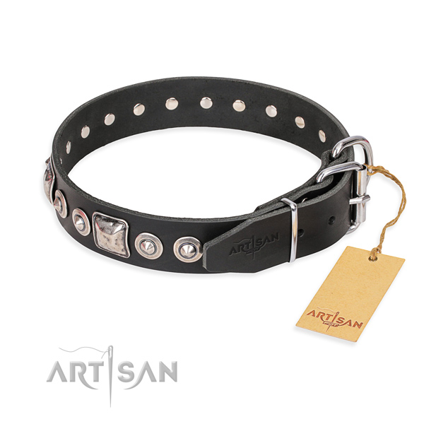 Full grain leather dog collar made of high quality material with strong embellishments