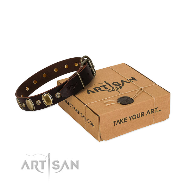 Exceptional full grain natural leather dog collar with rust resistant hardware