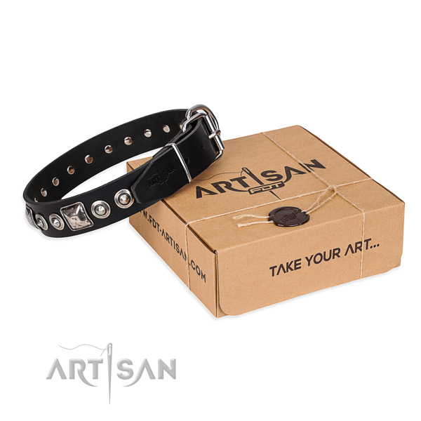 Full grain genuine leather dog collar made of soft to touch material with strong hardware