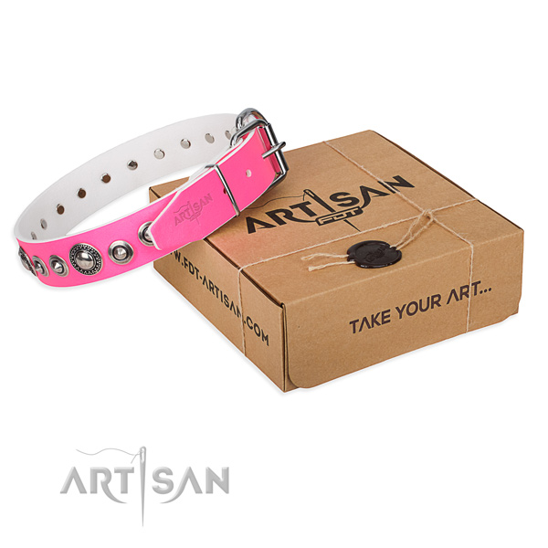 Natural genuine leather dog collar made of flexible material with reliable buckle