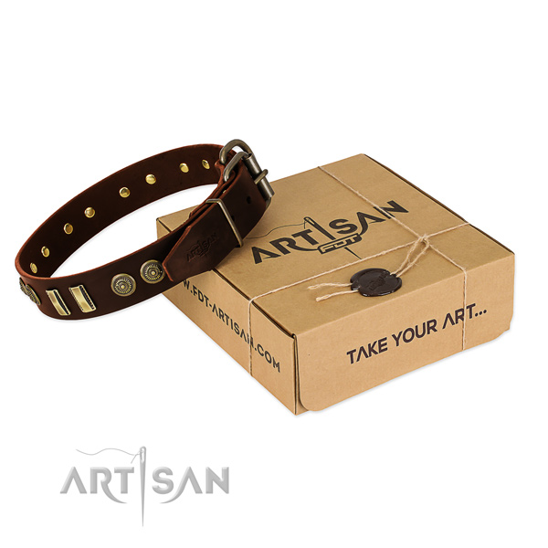 Rust resistant decorations on full grain genuine leather dog collar for your doggie