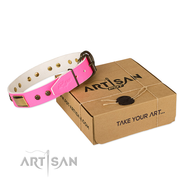 Inimitable full grain genuine leather collar for your beautiful doggie