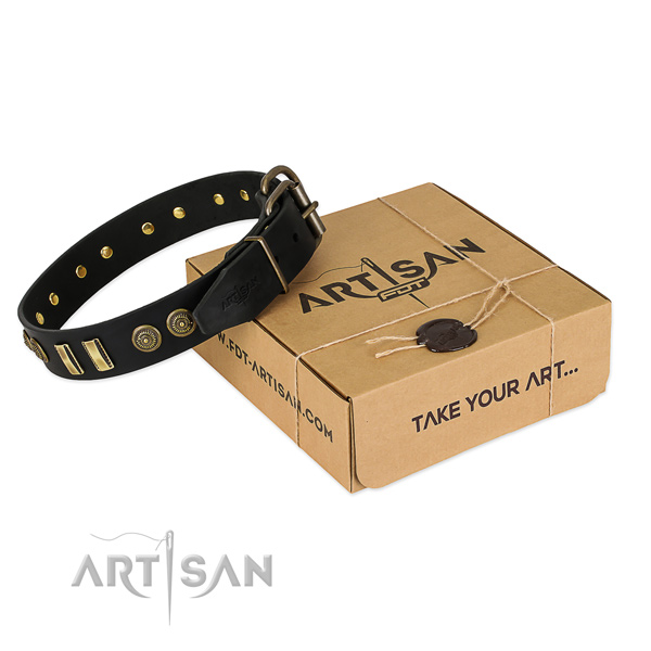 Rust resistant D-ring on full grain leather dog collar for your dog