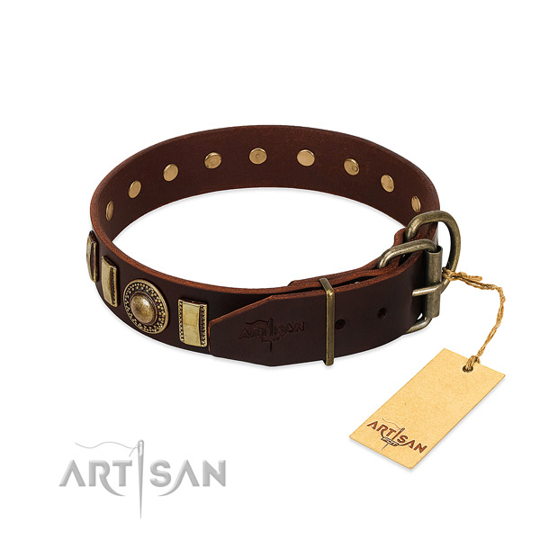 Embellished full grain natural leather dog collar with durable hardware