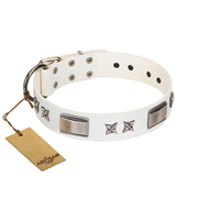 """Bling-Bling"" FDT Artisan White Leather Boxer Collar with Sparkling Stars and Plates"