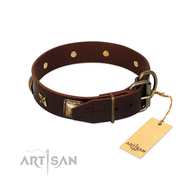 Full grain genuine leather dog collar with rust resistant traditional buckle and decorations