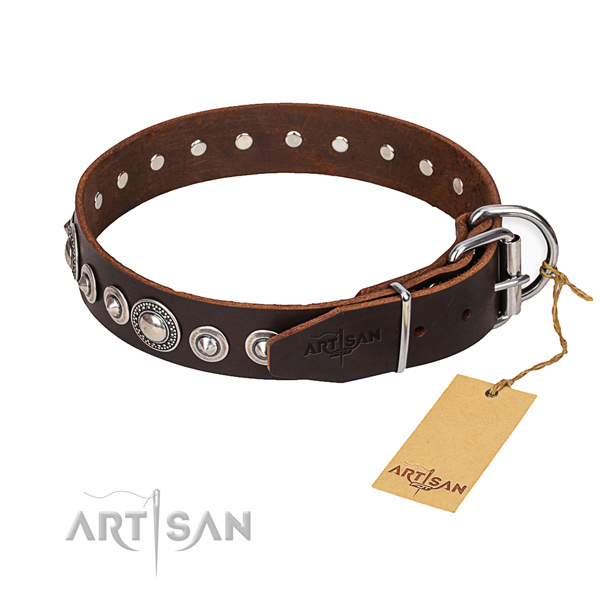 Full grain genuine leather dog collar made of soft material with corrosion resistant hardware