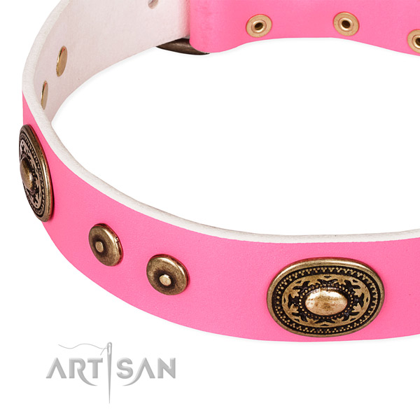 Full grain leather dog collar made of soft to touch material with embellishments