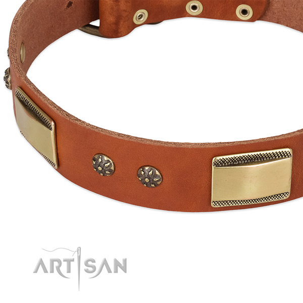 Corrosion resistant buckle on full grain natural leather dog collar for your dog