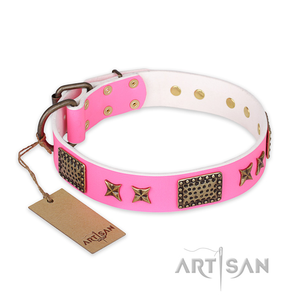 Trendy full grain natural leather dog collar with durable traditional buckle