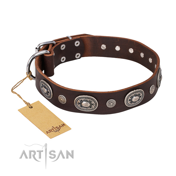 Top notch full grain genuine leather collar crafted for your dog
