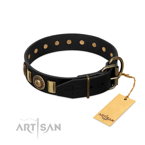 Gentle to touch full grain leather dog collar with studs