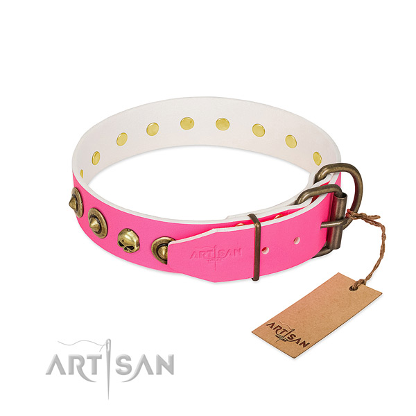 Full grain natural leather collar with top notch adornments for your four-legged friend