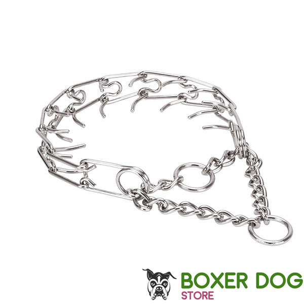 Adjustable stainless steel dog pinch collar with removable links for medium dogs