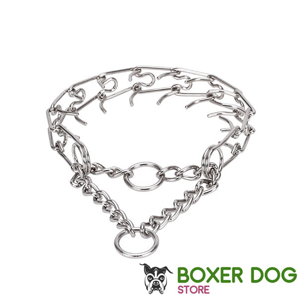 Pinch collar of corrosion resistant stainless steel for badly behaved pets