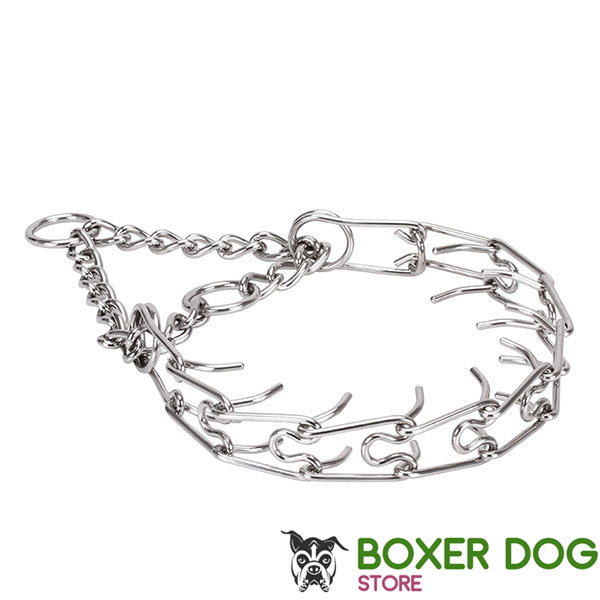 Corrosion proof stainless steel pinch collar for poorly behaved dogs