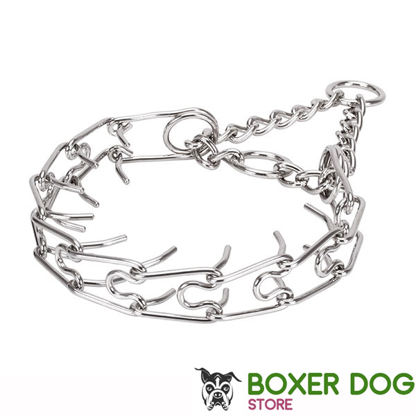 Strong stainless steel dog prong collar for large breeds