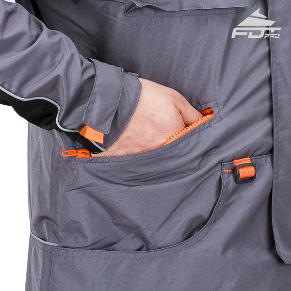 Grey Color FDT Pro Design Dog Tracking Jacket with Comfy Side Pockets