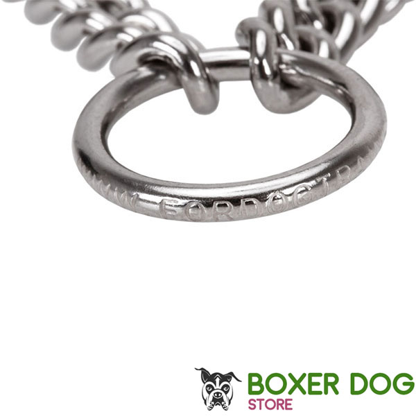 Durable prong collar with corrosion resistant stainless steel links