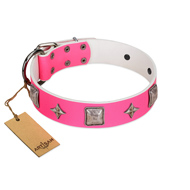 """Star World"" Gorgeous FDT Artisan Pink Leather Boxer Collar with Silver-Like Adornments"