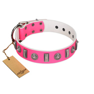 """Treasure Island"" FDT Artisan Pink Leather Boxer Collar with Silver-Like Studs"