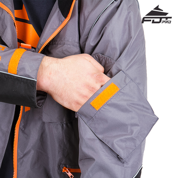 Grey Color Pro Design Dog Tracking Jacket with Handy Sleeve Pocket