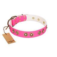 """Bright Delight"" Pink FDT Artisan Leather Boxer Collar with Large Old Bronze-like Plated Studs"