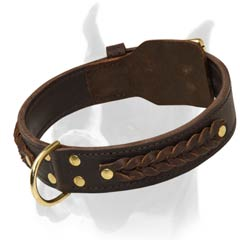 Durable Boxer Breed Collar with Fur Protection and Braided Decoration