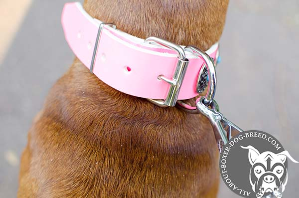 Comfortable Pink Leather Collar for Boxer