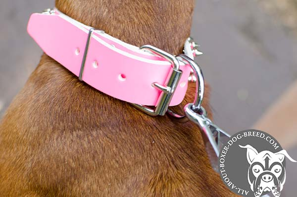 Pink Leather Boxer Collar with Strong Buckle