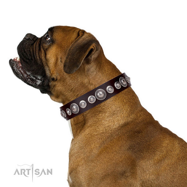 Fashionable embellished natural leather dog collar for daily use