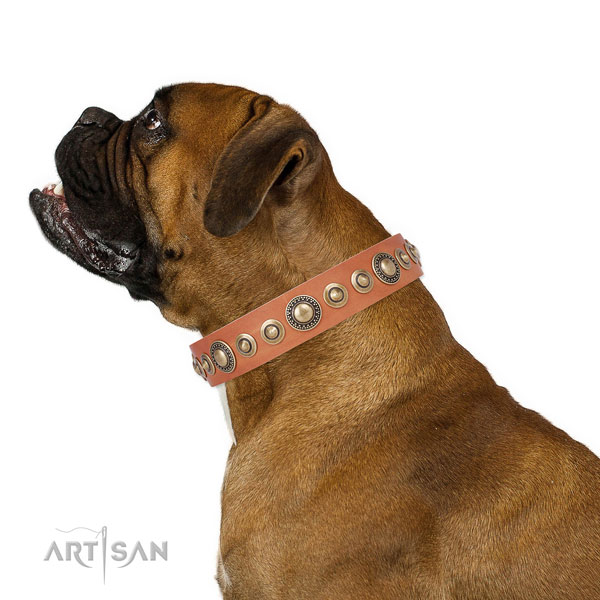 Rust-proof buckle and D-ring on natural leather dog collar for walking in style
