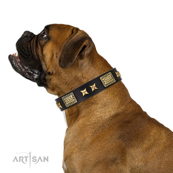 Easy wearing dog collar with inimitable decorations
