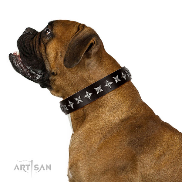 Everyday use decorated dog collar of quality genuine leather