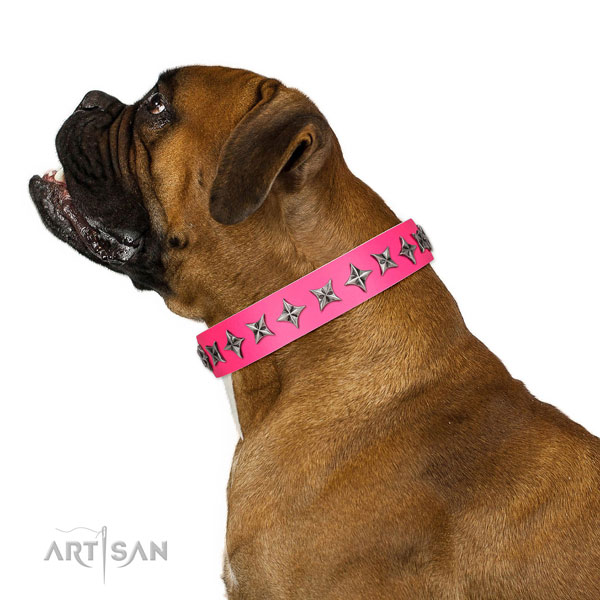 High quality full grain leather dog collar with impressive decorations