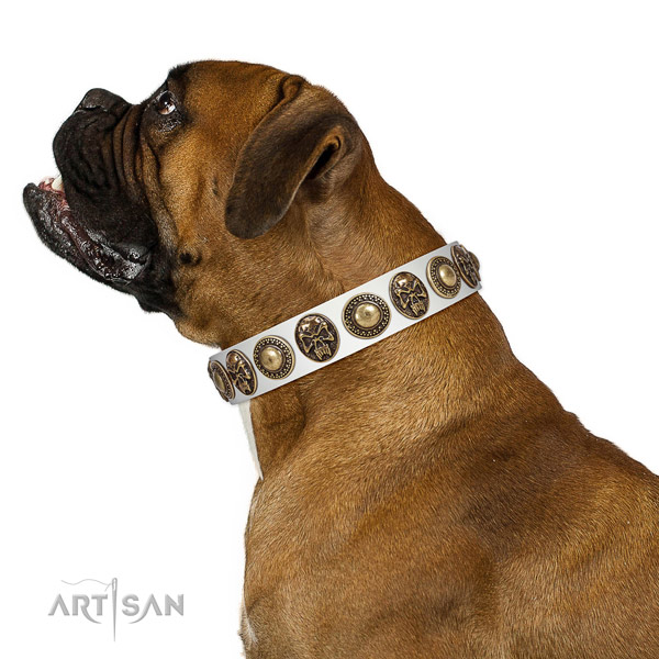 Inimitable full grain genuine leather collar for your stylish canine