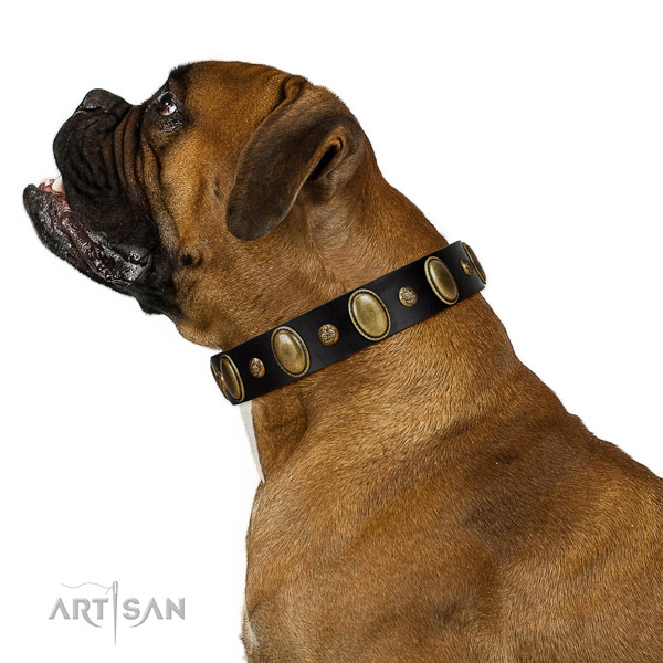 Full grain genuine leather dog collar of soft material with trendy adornments