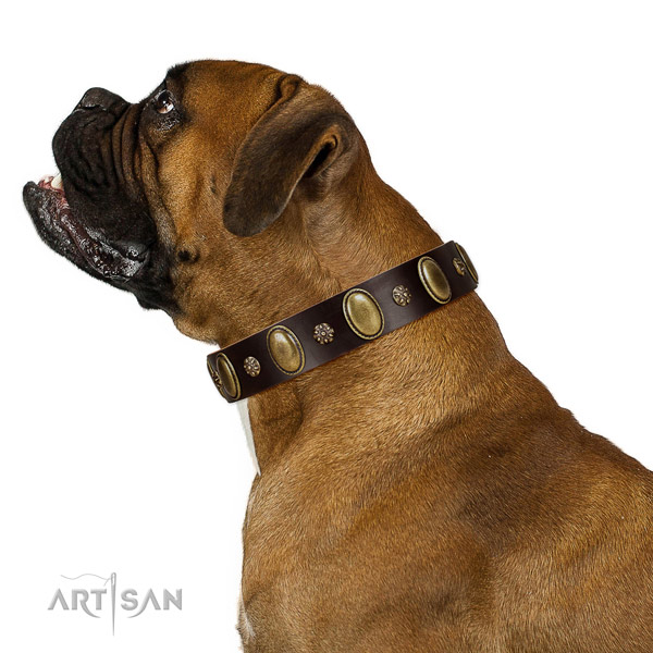 Everyday use gentle to touch full grain leather dog collar with decorations