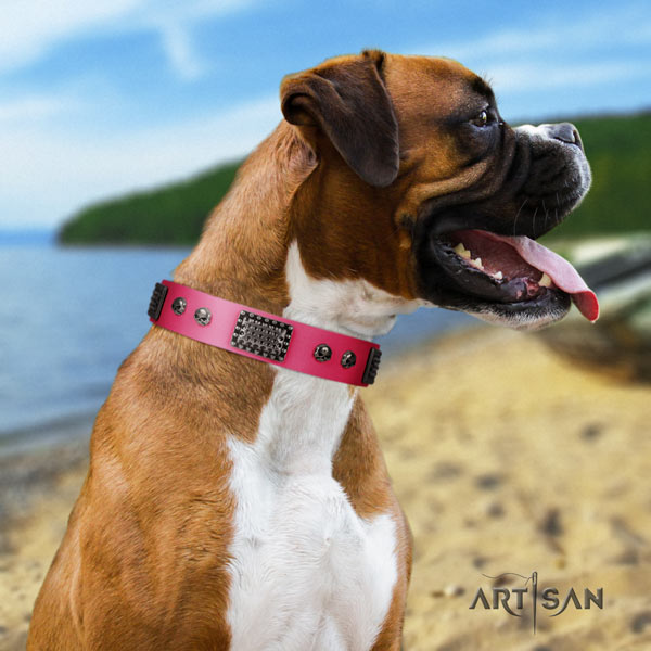 Boxer adorned leather collar with strong D-ring