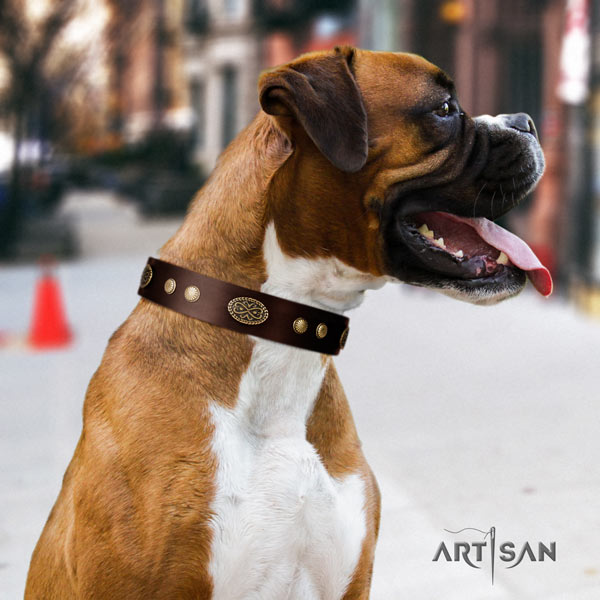 Boxer adorned leather collar with rust-proof buckle
