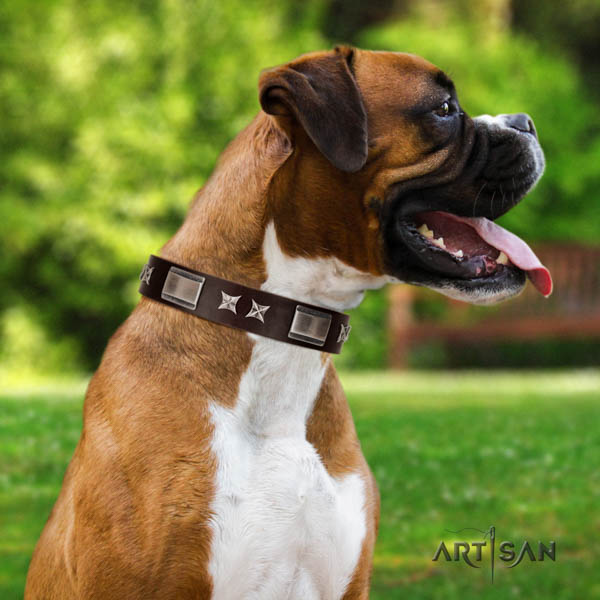 Boxer soft to touch studded full grain genuine leather collar