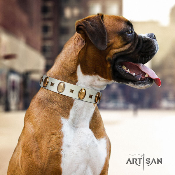 Boxer genuine leather dog collar for easy wearing