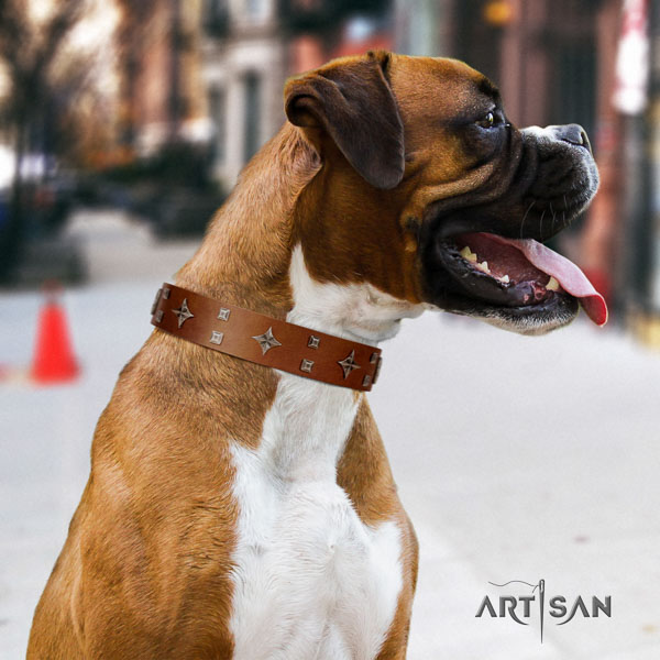 Boxer natural genuine leather dog collar for easy wearing