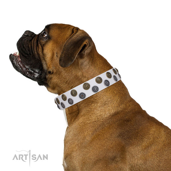 Boxer easy wearing leather dog collar for easy wearing